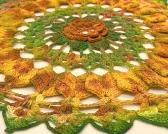 Hand Dyed Doily - Autumn Fall Green Burnt Orange Gold Yellow Rust Flower Upcycled Home Decor Harvest Crochet Doilies Thanksgiving