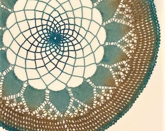 Hand Dyed Doily - Beach Coastal Turquoise Teal Blue Brown Tan Sand Water Placemat Upcycled Home Table Top Decor Crochet Doilies Gift