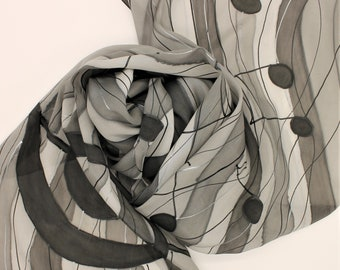 Hand Painted Silk Scarf - Music Notes Musical Black Gray Grey Silver Piano Choir Singing Theater Handpainted Scarves Unique Gift Teacher
