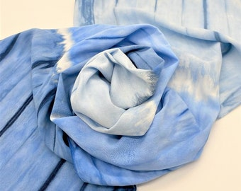 Hand Dyed Bamboo Scarf - Shibori Denim Light Blue Navy Indigo Tie Dye Unique Teen Ladies Scarves Birthday Gift Soft Rayon Hand Painted