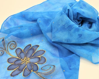 Hand Painted Silk Chiffon Scarf - Hand Dyed Bright Blue Royal Navy Gold Flowers Floral Light Weight Sheer