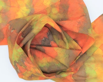 Hand Painted Silk Scarf - Tie Dye Dyed Autumn Fall Orange Gold Yellow Brown Olive Green Unique Fun Handpainted Scarves