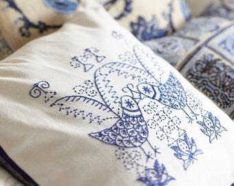 Embroidery pattern,SCANDI BIRDS,blue,scandinavian,embroidery,pillow,needlecraft,cushion,birds,swedish embroidery,Anette Eriksson Design