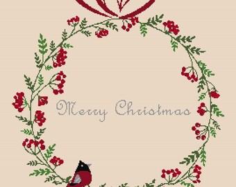Cross stitch pattern ROBIN WREATH - christmas pillow,scandinavian,cross stitch,needlepoint,embroidery,cushion,swedish,anette eriksson,