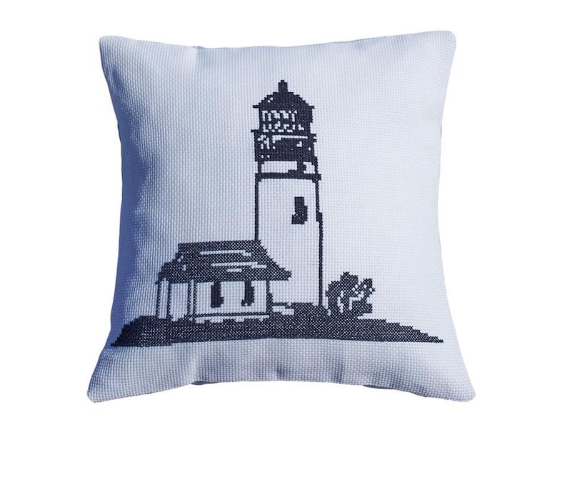 cross stitch,beginner,nautical,embroidery kit,needlepoint,swedish,scandinavian,anette eriksson,navy,coastal Cross stitch kit LIGHTHOUSE