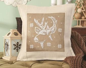 Cross stitch kit RUDOLPH - christmas pillow,scandinavian,cross stitch,needlepoint,embroidery,cushion,swedish,anette eriksson,