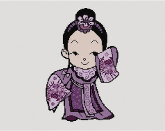 Cross stitch pattern CHINA GIRL PURPLE - needlepoint,embroidery,cross stitch,boho,wall art,nursery,oriental,anette eriksson,bohemian,china