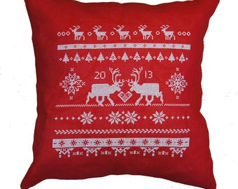 Christmas pillow REINDEER -cross stitch pattern,scandinavian,cross stitch,needlepoint,embroidery,cushion,holiday,swedish,anette eriksson,diy