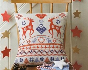 Christmas pillow FAIRISLE STAGS - handmade,throw pillow,diy,cross stitch,needlepoint,embroidery,holliday,scandinavian,red,anette eriksson