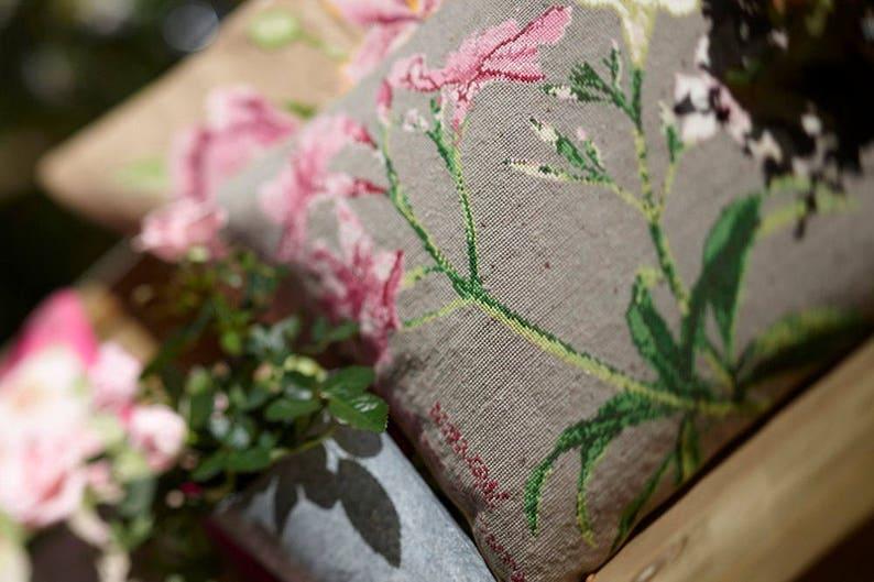 Cross stitch kit OLEANDER diy,needlepoint,botanical,needlepoint pillow,swedish,handmade,flower cushion,burlap pillow,diy,embroidery