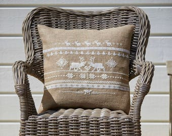 Cross stitch pattern REINDEER -christmas pillow,scandinavian,cross stitch,needlepoint,embroidery,cushion,holiday,swedish,anette eriksson,diy