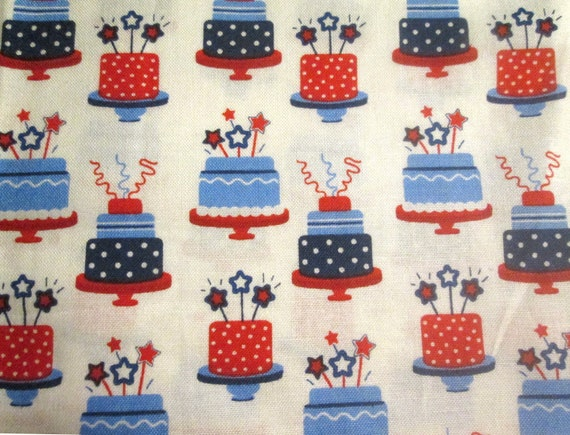 Pleasing Birthday Cake Fabric Red White Blue With Stars Novelty Print Etsy Funny Birthday Cards Online Alyptdamsfinfo