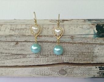 Turquoise Brass Heart Drop Earrings