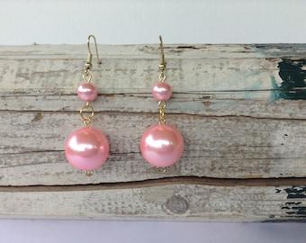 Large Pink Pearl Drop Earrings