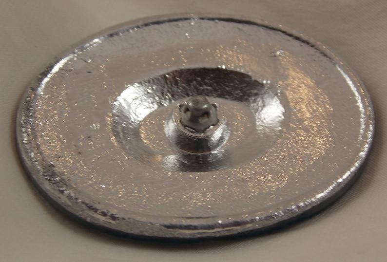 Oval Foil Back Glass Button Floral 49x39mm Gold Aqua 1