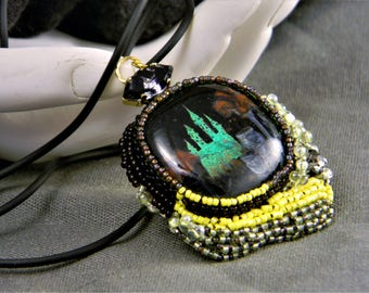 Emerald City Hand Painted Enamel and Dichroic Glass Necklace
