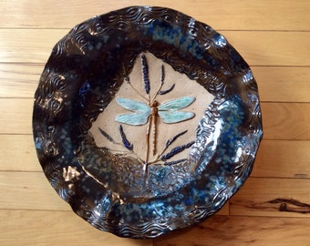Dragonfly pottery bowl