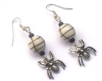 Caught In The Web - Dangle Spider Earrings - Halloween Jewelry - Goth Rocker