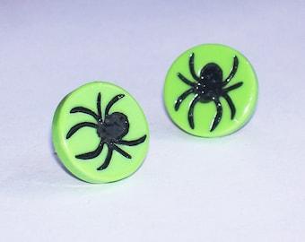 Black Widow Spider Post Earrings - Halloween Jewelry Studs
