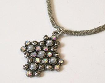 GLINDA- Sparkly Industrial Pendant Necklace with Mesh Chain - Unique Fantasy Jewelry