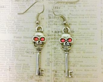 SPOOKY SKELETON KEYS Dangle Earrings - Goth Rocker Halloween Jewelry