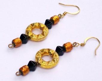 Ode to October Dangle Earrings - Orange & Black - Fall Jewelry Halloween