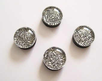 Black & White Tribal Glass Bubble Marble Magnets - Set of 4 - Home Office School Decor