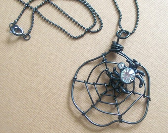 ON THE WEB - Spider Web Necklace - Goth Halloween Jewelry