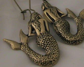 Mermaid Earrings Gold Mermaid Jewelry Nautical Beach earrings jewelry ocean jewelry mermaid gift beach boho earrings Mermaids