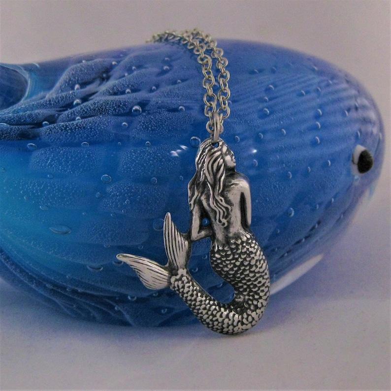 Silver Mermaid Necklace Pendant Vintage Jewelry Nautical image 0