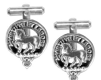 Sterling Silver and Karat Gold Cochrane Clan Crest Scottish Cufflinks; Pewter