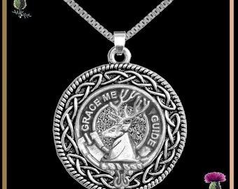 Forbes Clan Crest Celtic Interlace Disk Pendant, Scottish Family Crest  ~ CLP06