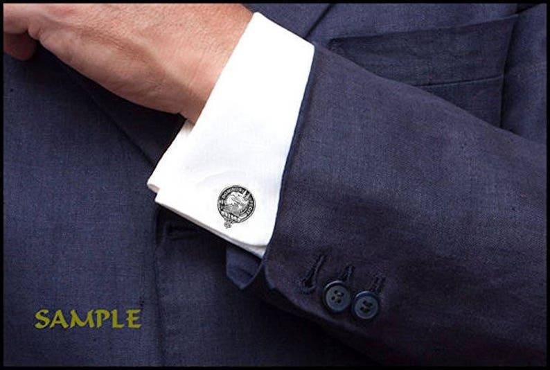 Sterling Silver and Karat Gold Erskine Clan Crest Scottish Cufflinks; Pewter
