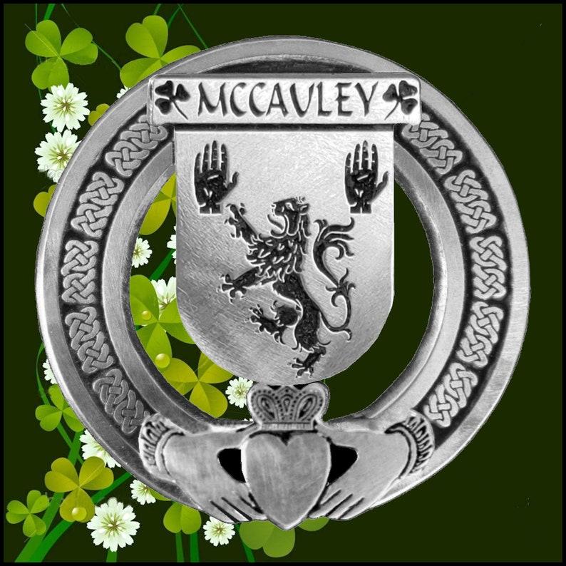 McCauley Irish Claddagh Coat of Arms Plaid brooch ~ Emerald stones