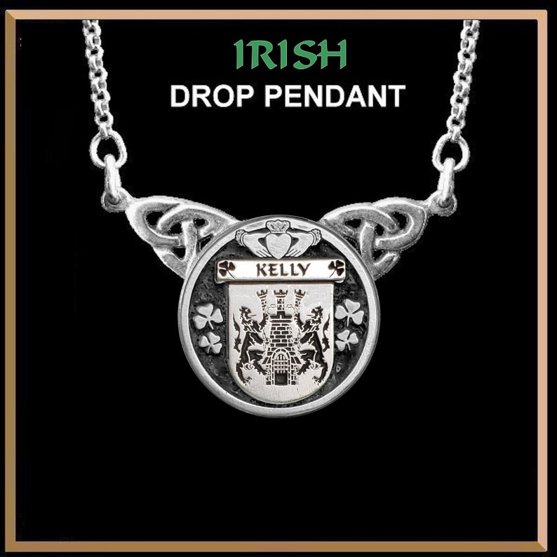 Kelly Irish Coat of Arms Double Drop Pendant ~ ILP03