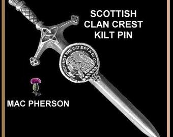 Mac Pherson Clan Crest Kilt Pin, Scottish pin