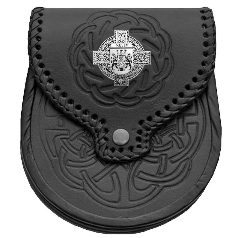 Genuine Leather Kelly Irish Coat of Arms Sporran