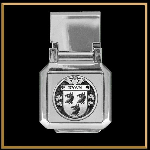 Select Gifts Ryans Ireland Family Crest Surname Coat Of Arms Cufflinks Personalised Case