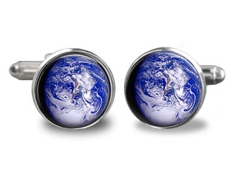 Lifetime Guarantee Earth Cufflinks Space Cufflink Planet Cuff Links Pair Astronomy Cuff Link S1302