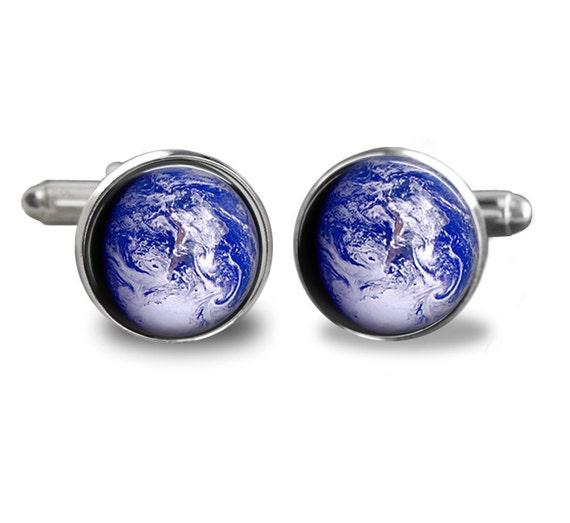 Cuff links Earth planet Handmade 16mm solar system astronomy cufflink