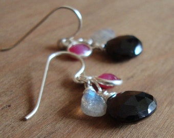 Gemstone Dangle Earrings - Sterling Silver Black Onyx Earrings, Ruby, Labradorite - Dainty Earrings, Black Earrings, Small Earrings - Pink