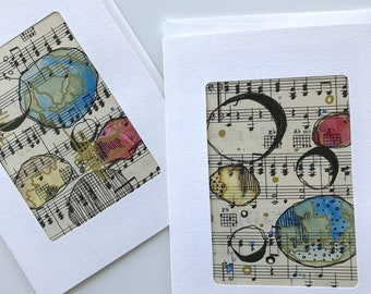 Handmade Greeting Cards / Planets on Music / set of two cards