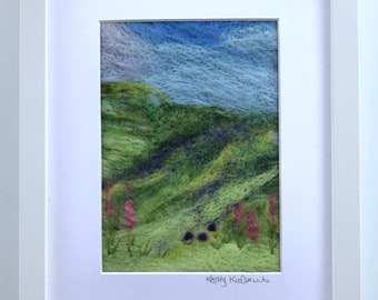 Felted Mountain Meadow / Wool Fibre Art / Framed Art