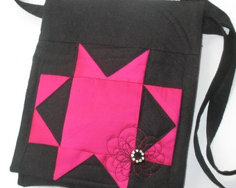 Quilted Silk Purse, Pink and Black Patchwork
