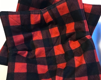 """Two red and black plaid Cozies, reversible bowl holders, 8"""" square"""