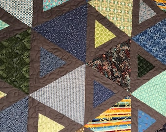 """Modern triangles Lap quilt, wall hanging, 46""""x60"""""""