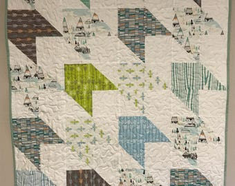 """Baby boy quilt, arrows quilt, greens and teals  37"""" x 47"""""""