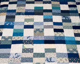 "Modern blue Lap quilt, twin quilt, 66"" x 78"""