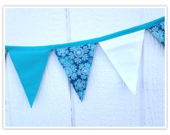 Snowflake Banner, Snow Queen Banner, Inspired by Frozen, Bunting, Teals, Gorgeous Snowflakes, Fabric Banner, Birthday Decor,
