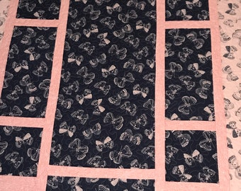 "Modern Lap Quilt, butterflies quilt, coral and navy blue, 48"" x 63"""